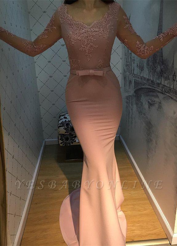 V-Neck Mermaid Long-Sleeve Long Lace Elegant Prom Dress