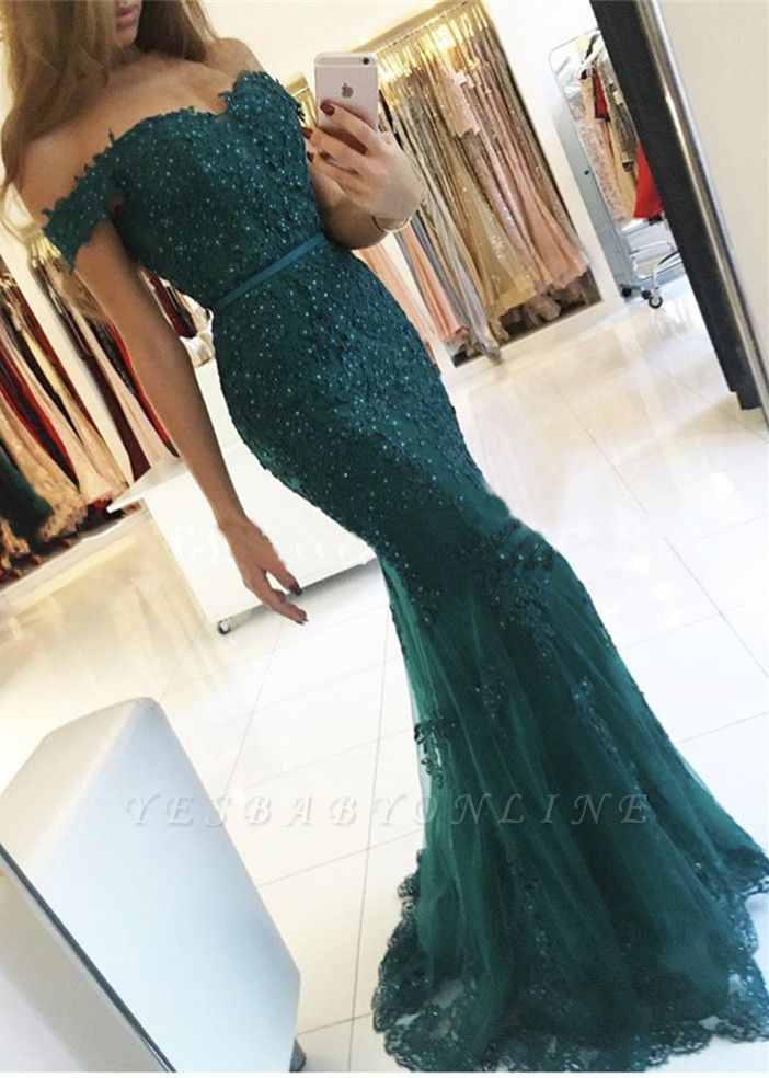 Off-the-Shoulder Lace Charming Mermaid Appliques Dark-Green Evening Dress
