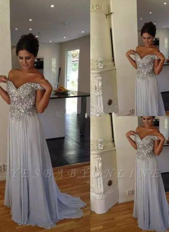 Crystals A-line Silver Long Off-the-Shoulder  Prom Dresses