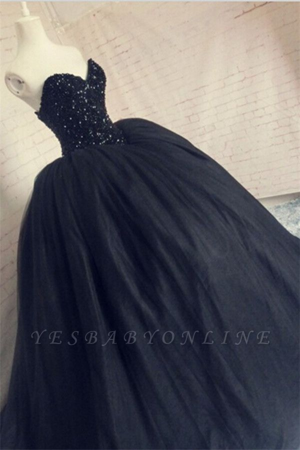 Sequins Black Beaded Sparkly Sweetheart Tulle Amazing Corset Puffy Prom Dress