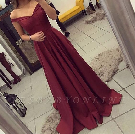 Burgundy A-line Prom Dresses for Teens Off-the-Shoulder Elegant Formal Dresses
