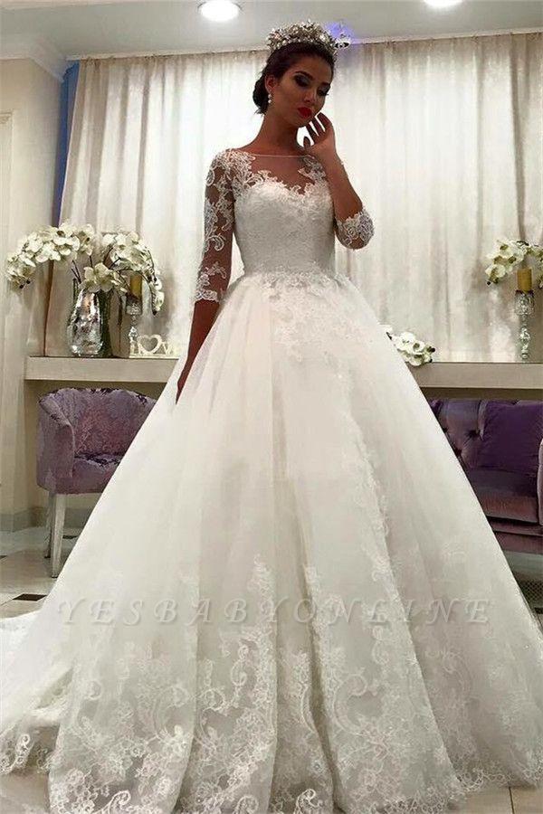Lace Bateau Ball-Gown Half-Sleeve Appliques Chapel-Train Wedding Dresses