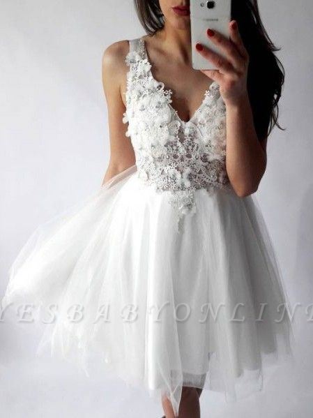 Chic Straps A-Line Homecoming Dresses | Sleeveless V-Neck Cocktail Dresses