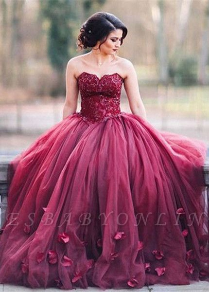 Glitter 3D-Floral Appliques Burgundy Ball-Gown Tulle Sweetheart Wedding Dresses
