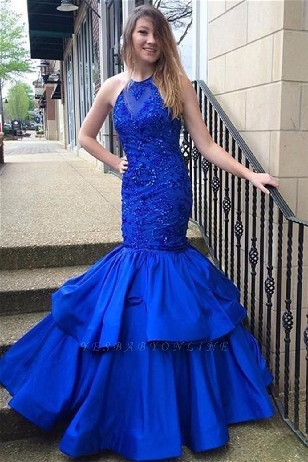 Blue Mermaid Halter Prom Dresses | Long Appliques Sleeveless Evening Gowns