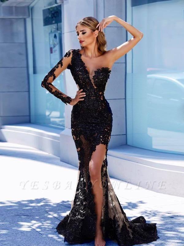 One-Shoulder Modern Black Lace Prom Dress | Front Split Evening Gown BA9571