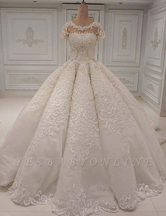 Round Neck Short Neck Beaded Sparkly Ball Gown Wedding Dresses