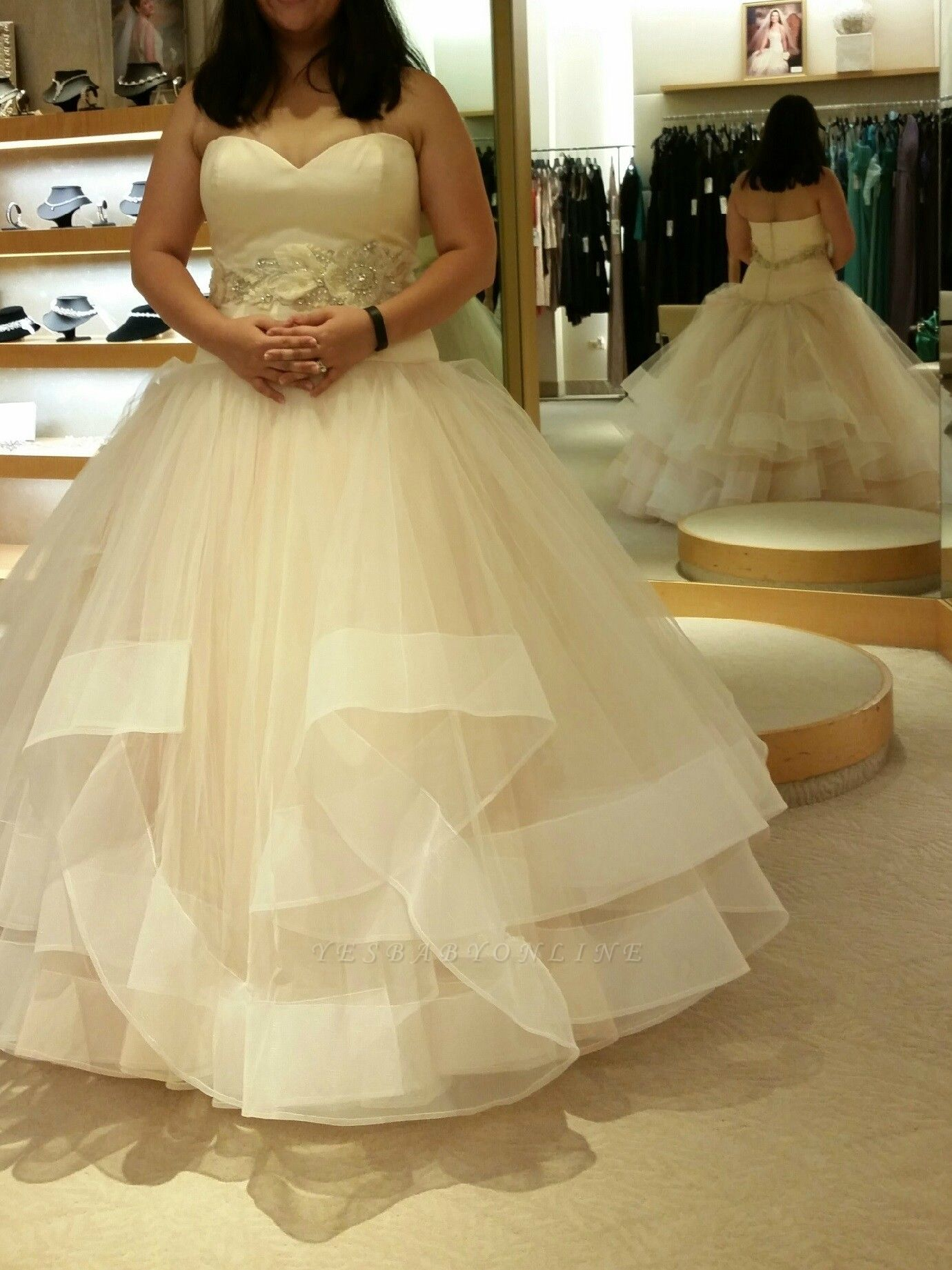 Ball-Gown Exquisite Tiered Crystal-Sashes Sleeveless Tulle Sweetheart Wedding Dresses