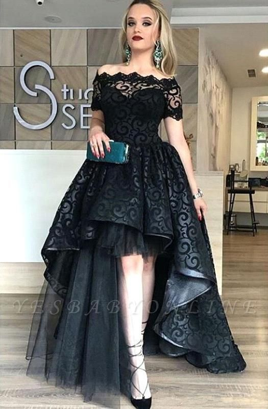 Lace Short-Sleeve Black Hi-Lo Sexy Prom Dress