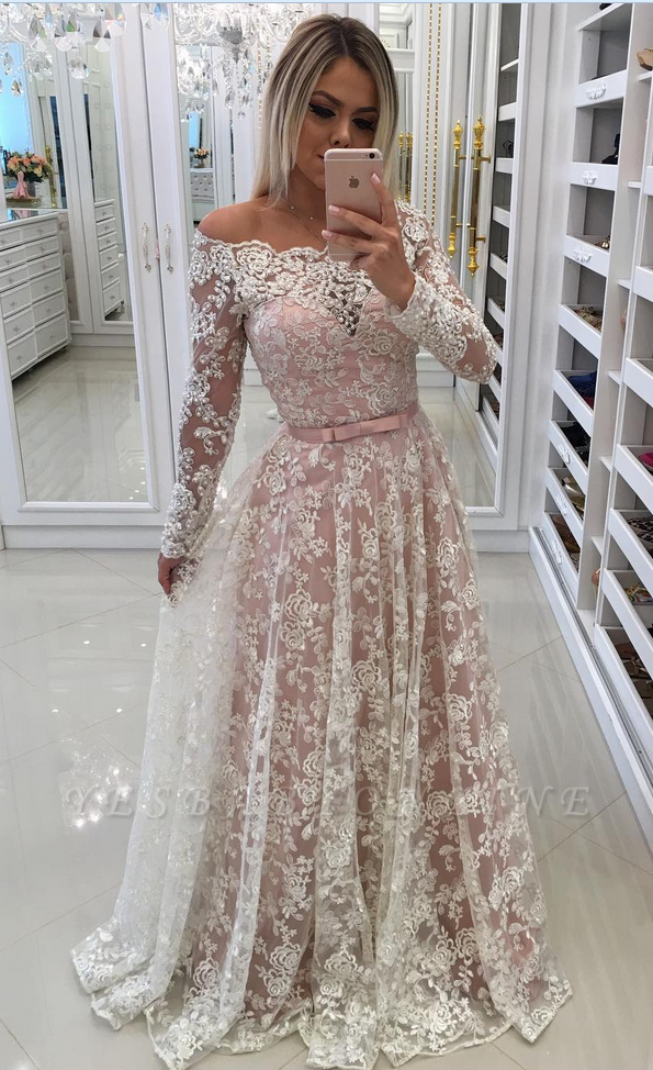 Prom Long Sleeves Lace Shoulder Dresses Pink Newest A-Line Pearls Off Evening Dresses