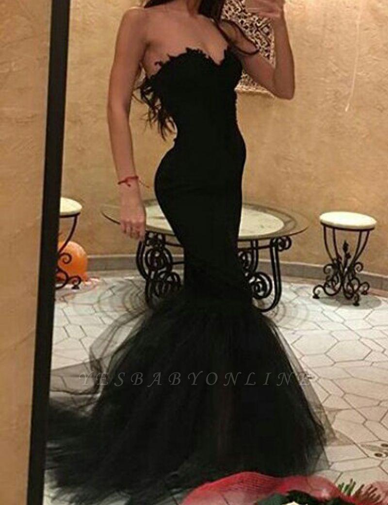 Sweetheart Mermaid Black Tulle Simple Prom Dress