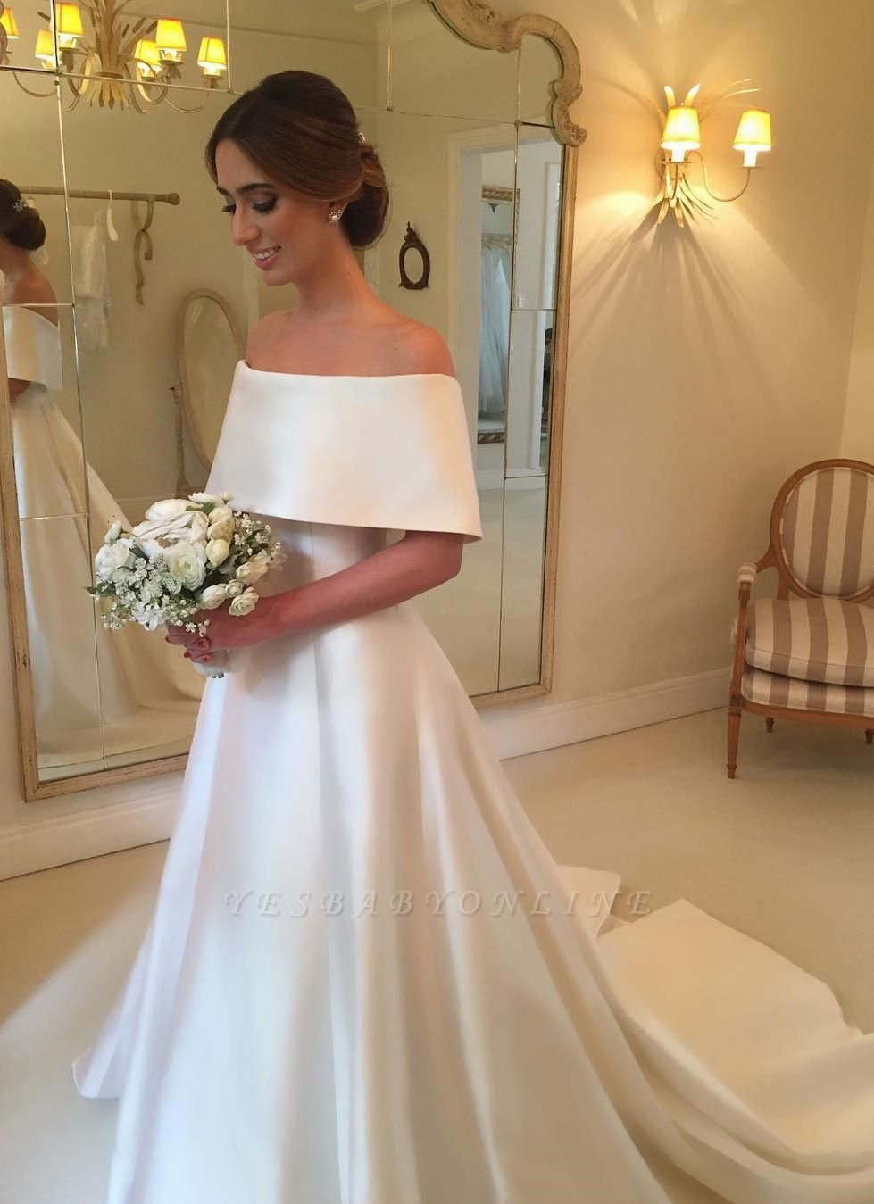 Glamorous White Off-the-shoulder A-line Satin Wedding Dress