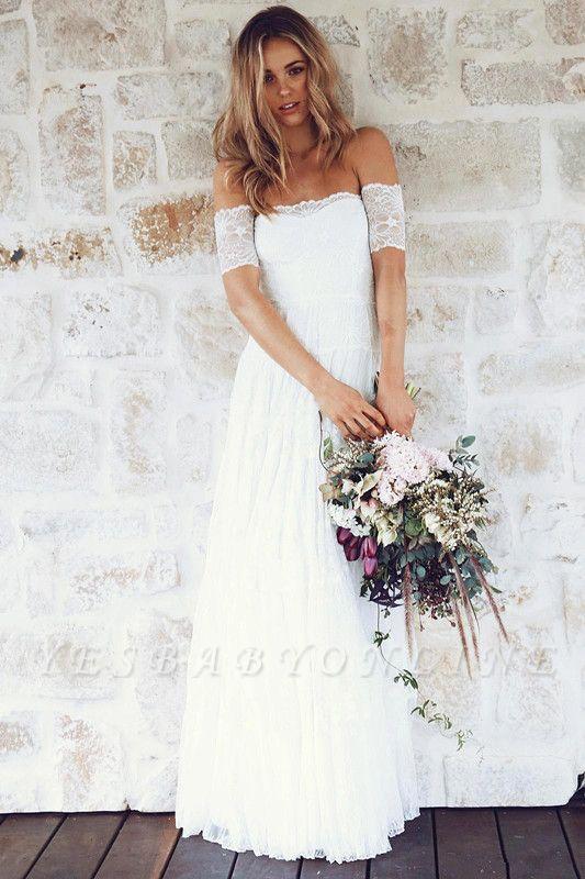 Glamorous Lace Summer Long Short-Sleeve Beach Wedding Dress