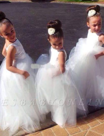 Lovely Floor-length Tulle Princess Jewel Flower Girl Dress