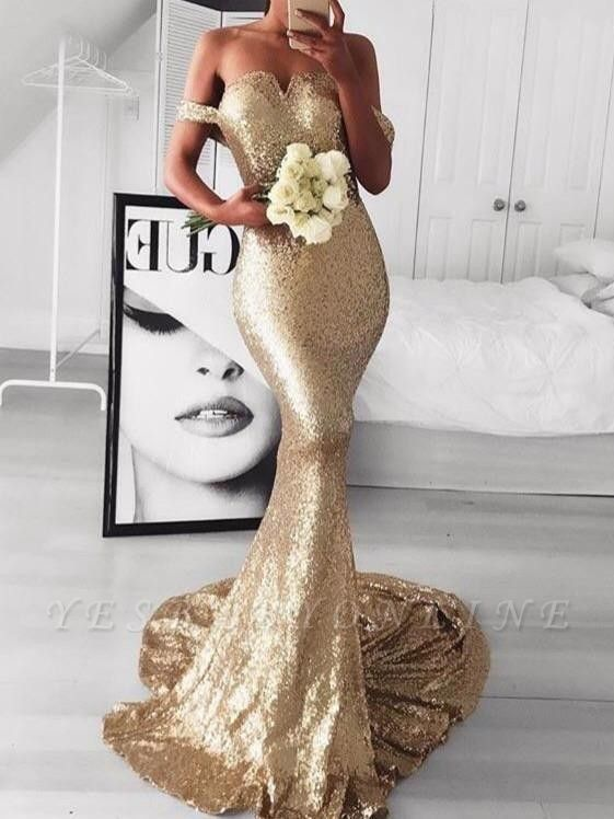 Sexy Off-the-Shoulder Evening Dresses | Sleeveless Mermaid Gold Prom Dresses