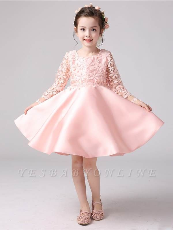 Lovely A-Line Satin Lace Flower Girl Dress | Long Sleeves Scoop Bowknot Girl Party Dress