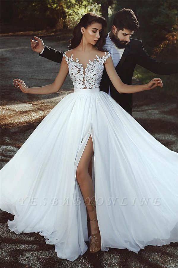 Sleeveless A-line Chiffon Wedding Dresses | Lace Appliques Slit Bridal Gowns