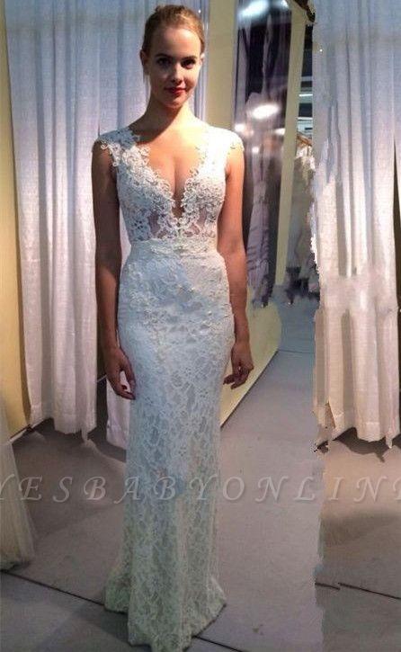 Glamorous Capped Sleeves Deep V-Neck Lace Mermaid Wedding Dresses