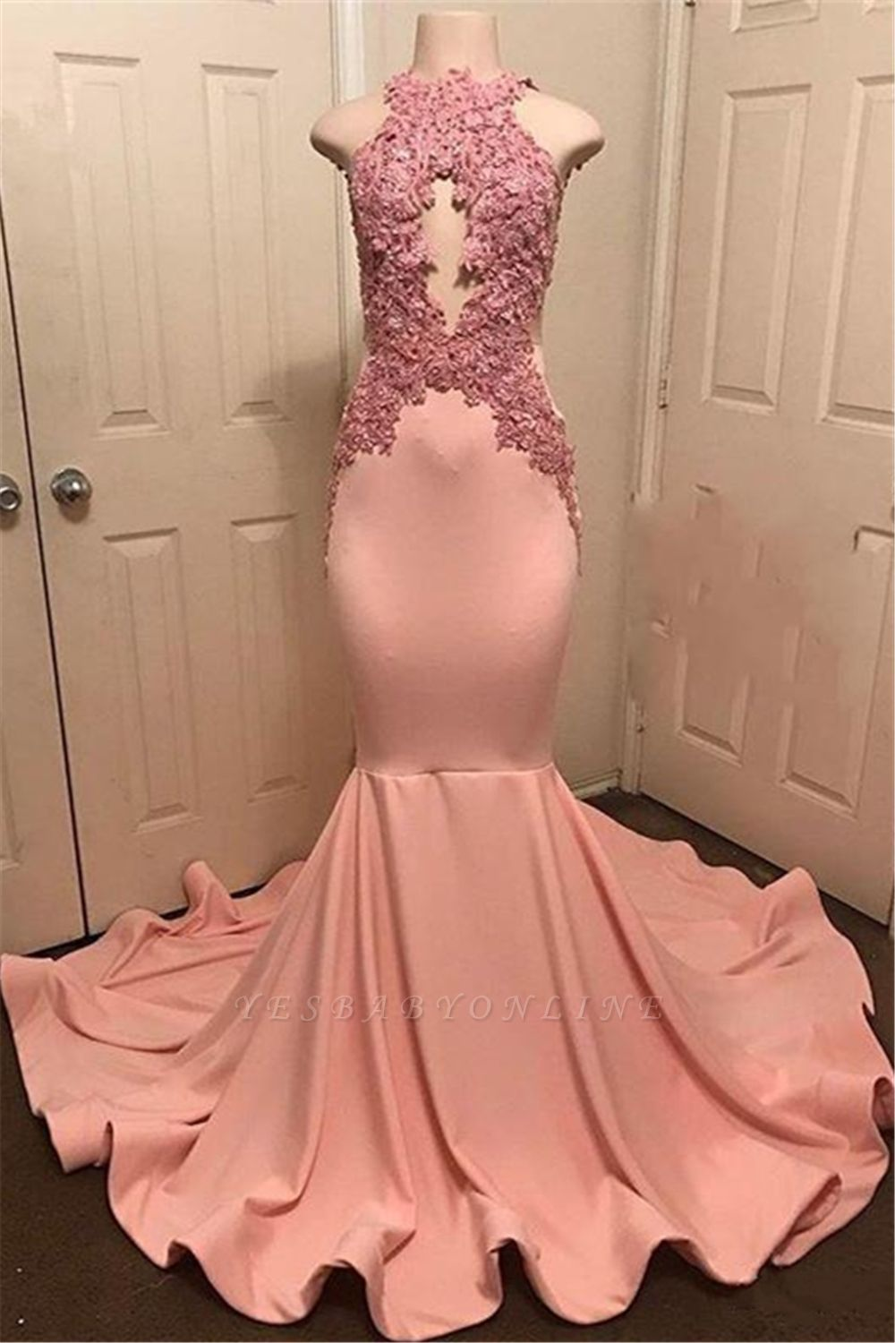 Pink Mermaid Sleevless Prom Dresses | Appliques High Neck Evening Gowns