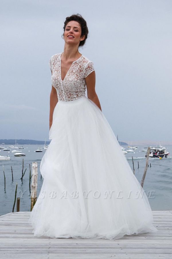 Tulle Chic Simple Short-Sleeves V-neck A-line Wedding Dress