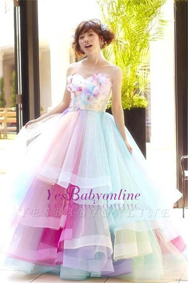 Princess Puffy Floral Organza Ball Gown Tiered Rainbow Strapless Evening Dresses