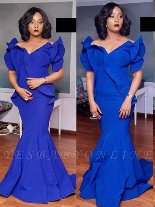 Elegant Mermaid Evening Dresses | Royal Blue Petal Sleeves Long Prom Dresses