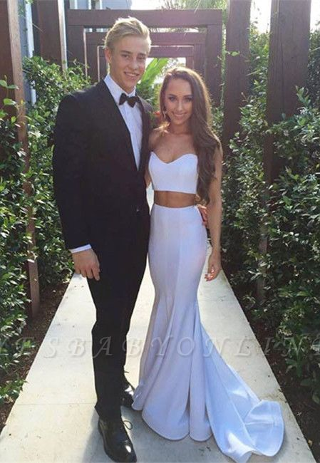 White Two-Piece Mermaid Prom Dresses Sleeveless Simple Evening Gowns
