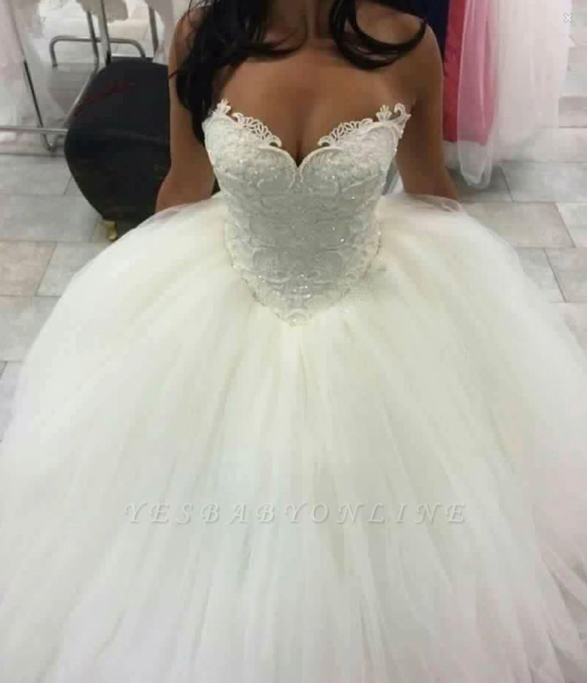 Glitter Ball Gown Wedding Dresses | Sleeveless Sweetheart Neck Lace Princess Bridal Gowns