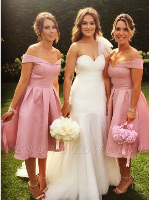 Elegant Off-the-Shoulder Wedding Party Dresses | Simple Pink A-Line Bridesmaid Dresses