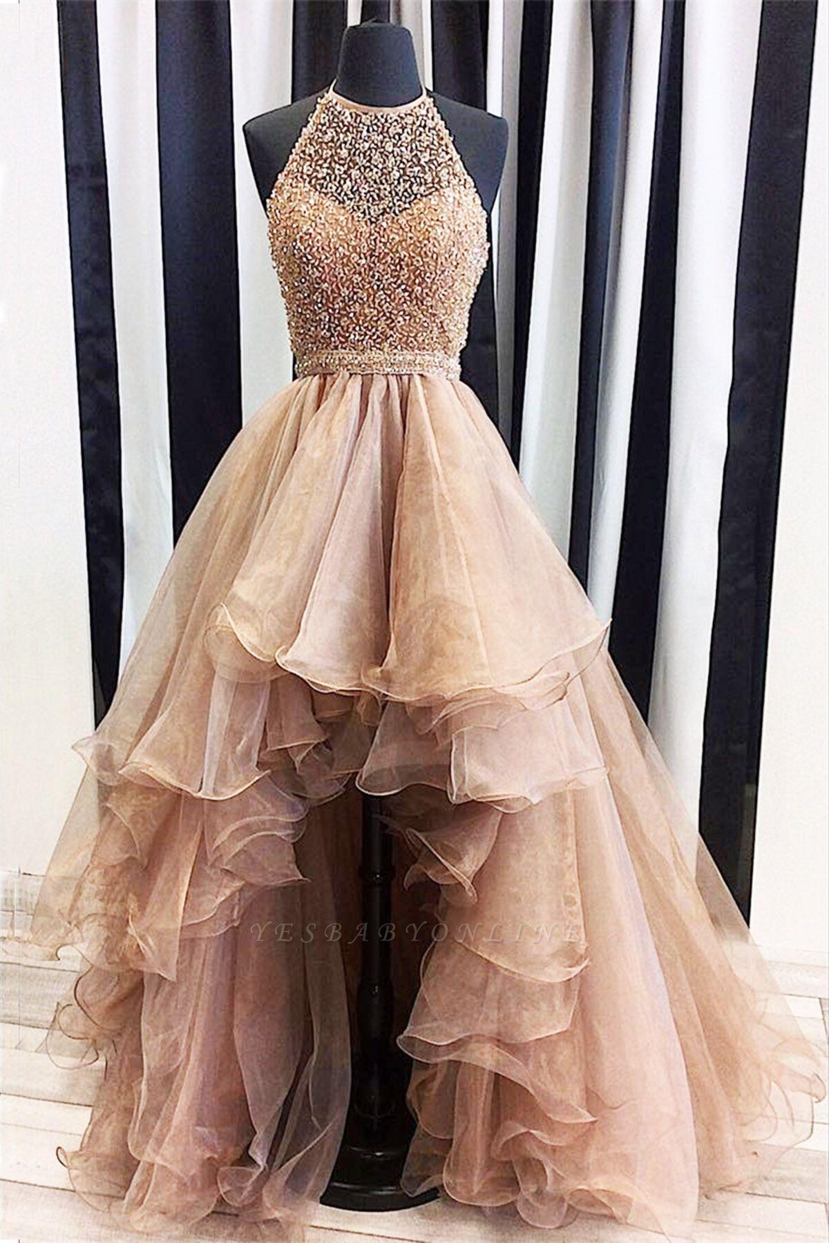 Prom Dresses Low Halter Beading A-Line Brilliant  High Evening Dresses