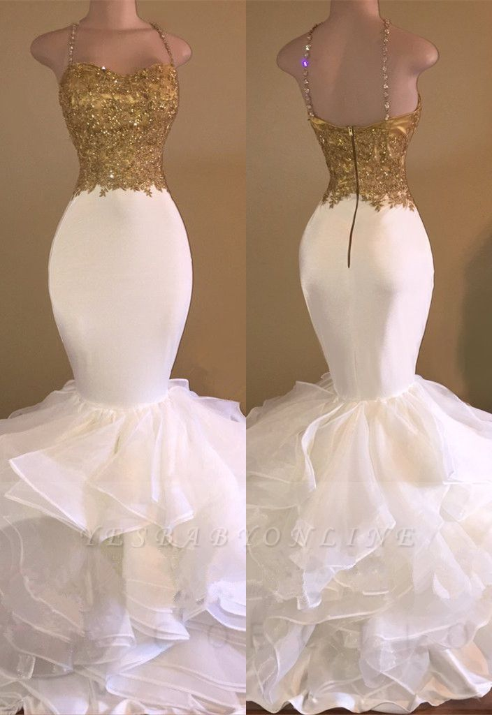 Amazing Gold & White Prom Dresses Spaghetti Straps Beading Ruffles Train Mermaid Evening Gowns