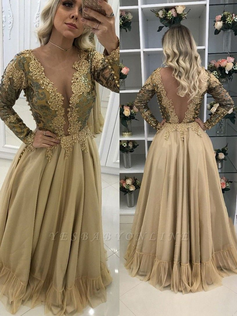 Long Chic Lace Sleeves Floor-Length V-Neck Prom Dresses