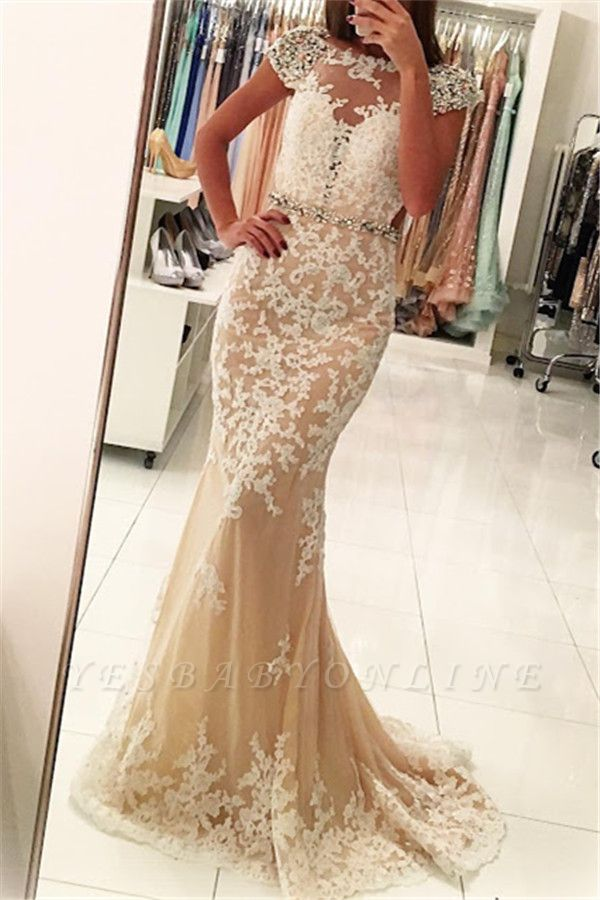 Fashion Appliques Round Neck Cap Sleeves Mermaid Prom Dress BA4294