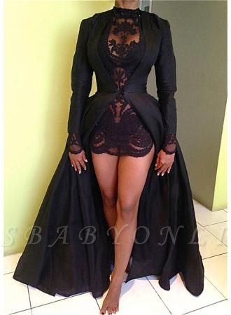 Black Two-Pieces Detachable Prom Dresses Long Sleeves Lace Sexy Party Dresses