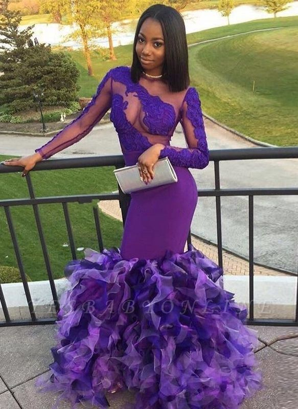 Long Purple Mermaid Prom Dresses | Long Sleeves Appliques Ruffles Evening Gowns
