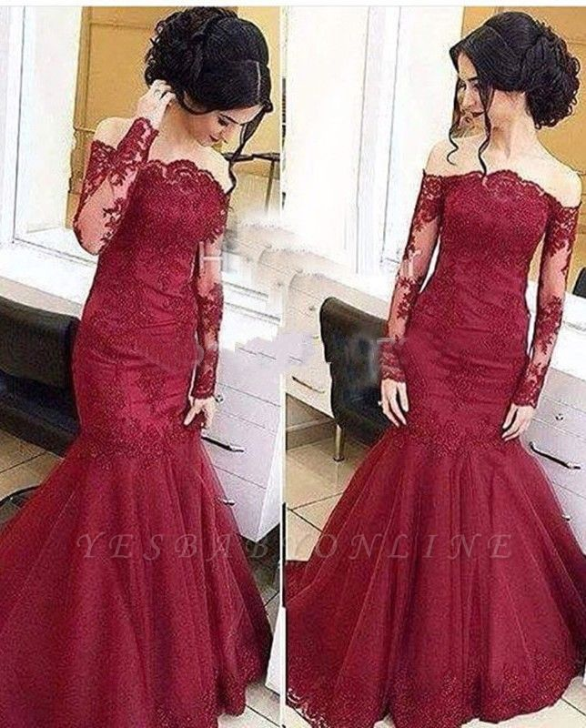 2019 Burgundy Lace Prom Dresses Off-the-Shoulder Long Sleeves Formal Evening Gowns BA5001