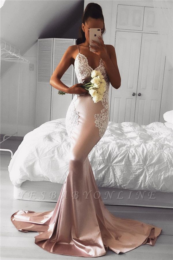 Cute Pink Mermaid Prom Dresses | Spaghettis Straps Evening Gowns with Lace Appliques