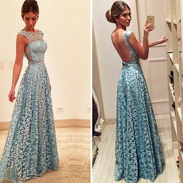 Bow Lace Newest Backless A-line Floor-length Evening Dress