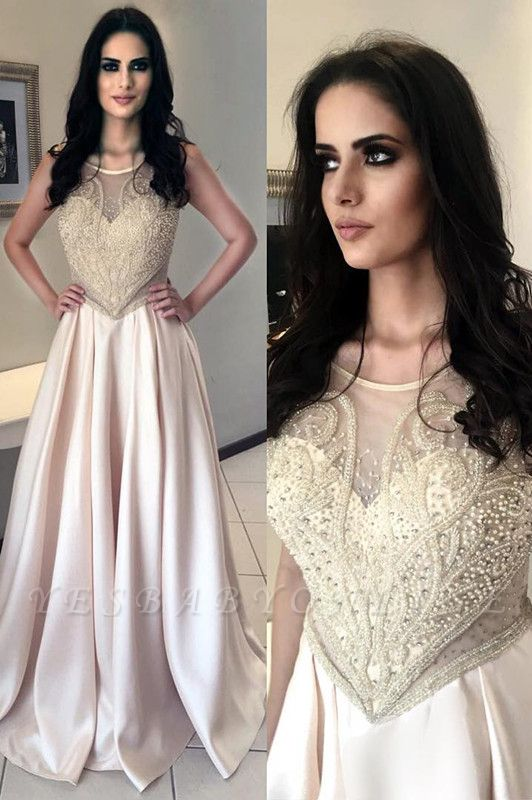 Gorgeous Pearls Long Sleeveless Scoop Prom Dress