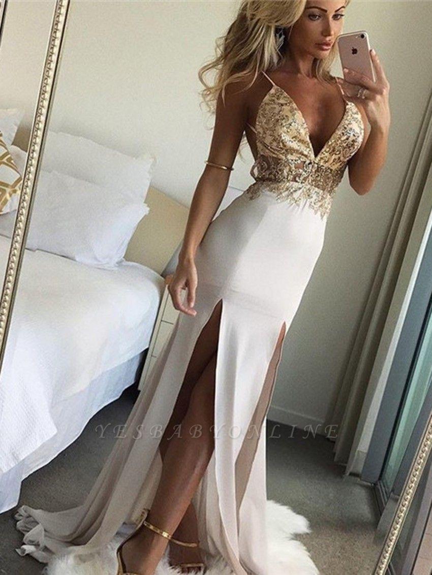 Shiny Beading Mermaid Evening Dresses | Sexy Deep V-Neck Spaghetti Straps Side Slit Long Prom Dresses
