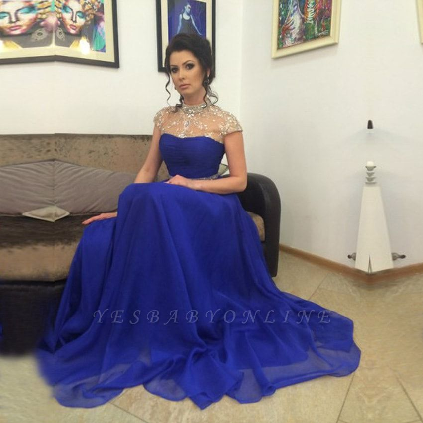 A-Line Royal-Blue High-Neck Beadings Short-Sleeves Prom Dress