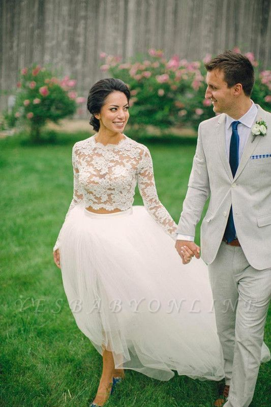 Piece Long Stunning Two Tulle Lace Appliques Sleeve Hi-Lo Wedding Dress