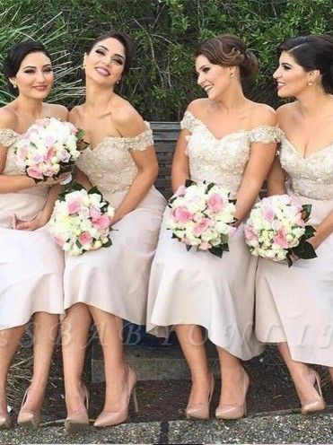 Short Lace Glamorous Off-the-Shoulder Bridesmaids Dress