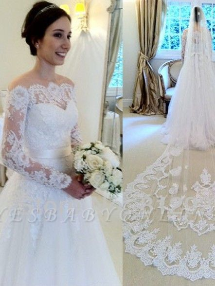 Sashes Sweep Train Off-the-shoulder Long Sleevess Glamorous A-line Wedding Dress