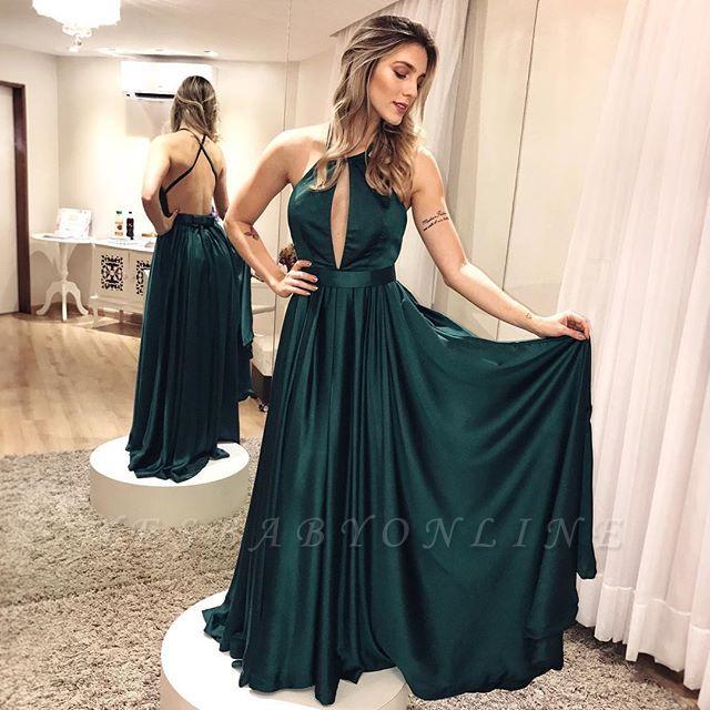 Backless Simple Elegant Cross-criss Dark-green Formal Dress