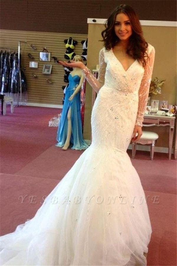V-neck Tulle Beaded Sequins Puffy Glamorous Mermaid Wedding Dresses