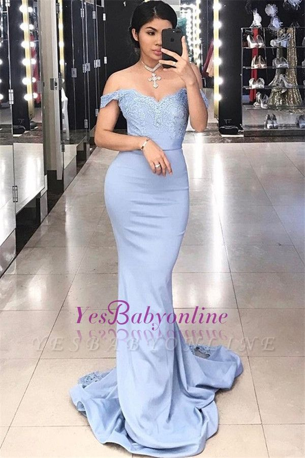 Sexy Court Train Lace Evening Dresses | Off-the-shoulder Sheath Prom Dresses