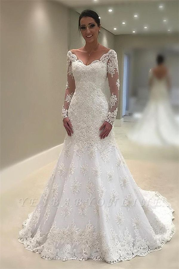 Glamorous Tulle Long Sleeves V-Neck Sexy Mermaid Lace Appliques Wedding Dresses