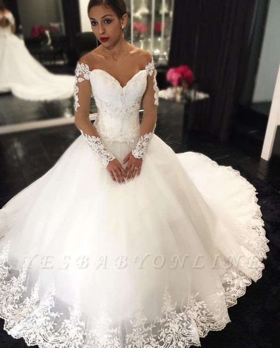 Glamorous Sweetheart Off-the-Shoulder Wedding Dresses | Long Sleeves Lace Appliques Bridal Dresses