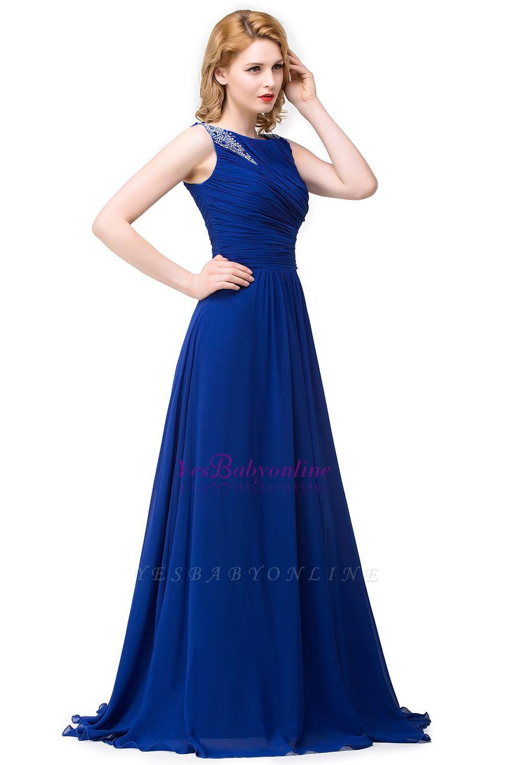 Scoop-neck Sleeveless Ruffled with Royal-blue  Long Beads Prom Dress